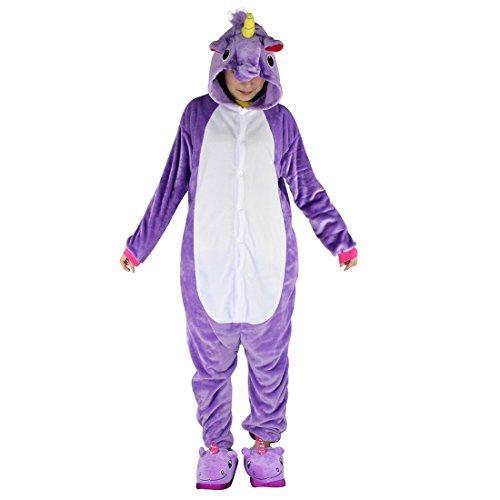 Tier Schlafanzug Erwachsene Pyjama Einhorn Schlafanzug mit Reißverschluss Tierkostüme Jumpsuit Overall Onesie Halloween Karneval Cosplay Kostüm - BienBien