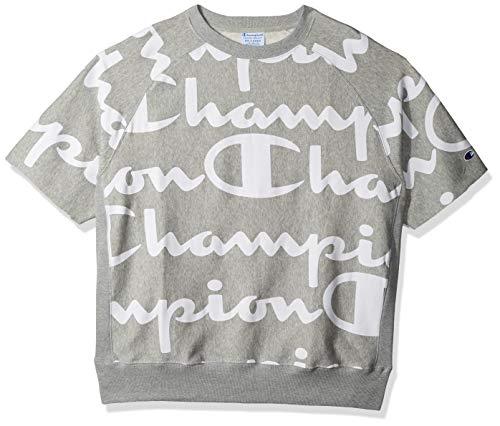 Champion Life Herren Printed Reverse Weave Short Sleeve Crew Sweatshirt, Giant Chp Script Oxford Grey, XXX-Large - Crew Sweatshirt Oxford