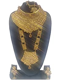 JD Bangle Store 18K Gold Plated Bridal Jewellery Traditional Necklace Set Perfect Gift For Her Wedding