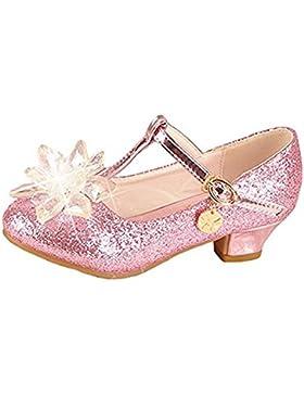 YOGLY Zapatos de Princesa Zapatos de Tacón de Moda para Niñas Brillante Sandalias para Fiesta Carnaval