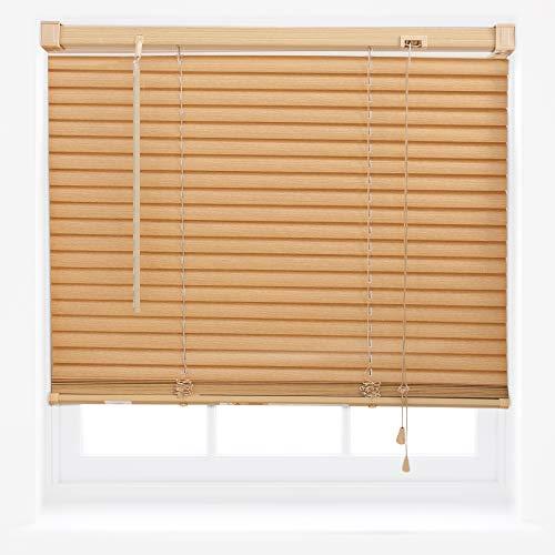 Tenda alla veneziana per finestra, in pvc effetto legno, regolabile, per casa o ufficio, plastica, teak, 45cm x 150cm