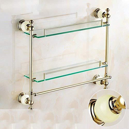 WYJW Dusche Lagerung Antike Doppelregale Frisiertisch mit Bad Halter Golden Jade Marmor Glasregal Handtuchhalter Anhänger Badezimmer-Regal Glas