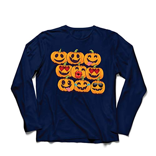 lepni.me Langarm Herren T Shirts Kürbis Emoji Lustiges Halloween-Party-Kostüm (XX-Large Blau Mehrfarben)