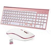 BJL Funktastatur und Maus Tastatur Maus  Kabellos Deutsch-QWERTZ Layout-Rosa + Weiß