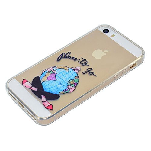 iPhone 5S / iPhone SE Hülle, Voguecase Silikon Schutzhülle / Case / Cover / Hülle / TPU Gel Skin für Apple iPhone 5 5G 5S SE(Hut Mädchen) + Gratis Universal Eingabestift Erdmädchen