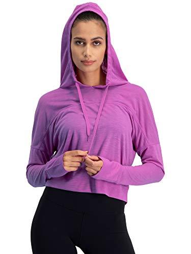 Jolt Gear Dry Fit Crop Tops für Frauen - Langarm Crop Top Hoodie - Damen Workout Pullover Top mit Daumenlöchern, Damen, Orchidee, X-Small