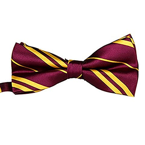 Silk Finish Fashion Bow Tie. Pre-tied Elastic Dicky for Weddings (Maroon & Gold (Oro A Strisce Cravatta)