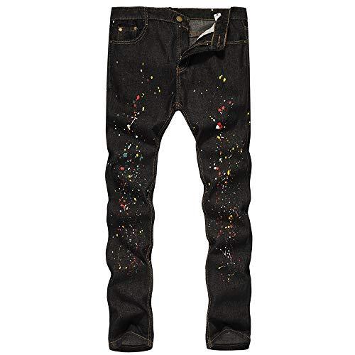 Jeans Hosen Für Männer Slim Fit UFODB Herren Vintage Röhrenjeans Destroyed Jeans-Hose Abriebfest Stoffhose Gerades Bein Pants Hip Hop Kampfhose Sporthose Winterhose Outdoorhose