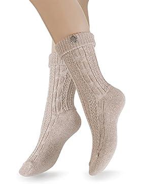 2 Paar Trachten Socken mit Edelweiß-Pin, Socken für Damen und Herren in Grau, Beige, Creme- Weiß- Gr. 35-46