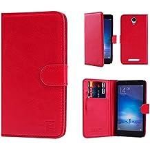 32nd® Funda Flip Carcasa de Piel Tipo Billetera para Xiaomi Redmi Note 2 con Tapa y Cierre Magnético y Tarjetero - Rojo