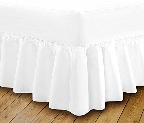 Dreamz Wahl Extra tief Spannbetttuch Rüschen Volant Bett Easy Care, feine Qualität, weiß, Super King