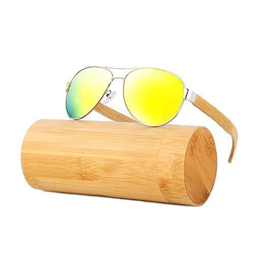 MXHSX Polarized UV400 Schutzgläser Handmade Bamboo Wood Sonnenbrille Universal Sonnenbrille für Mann und Frau Optional Persönlichkeit Brille (Farbe: silbrig + eisblau),Silbrig + orange