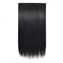 FESHFEN 24 One Piece 3/4 Full Head Clip in Hair Extensions Long Straight Synthetic Hair Extensions 5 Clips Hairpieces for Women 4.6 oz (1B Off Black)