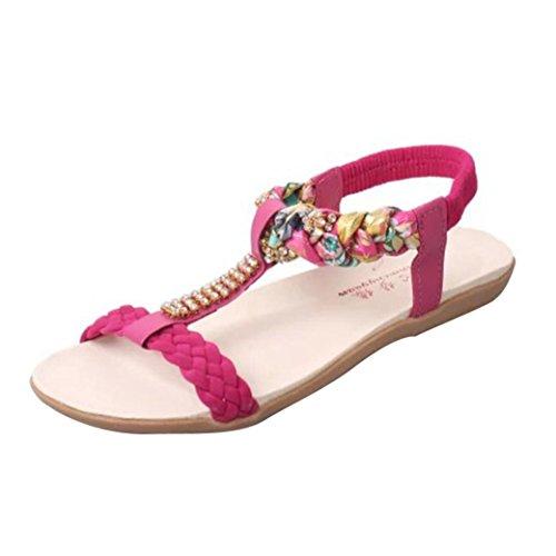 Hunpta Gummiband Frauen Sandalen Schuhe Casual Schuhe Sandalen Komfort Rot