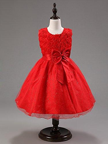 Imagen de katara  vestido de noche para niña con flores y con arco, color rojo, talla 128/128 tamaño fabricante 130  alternativa