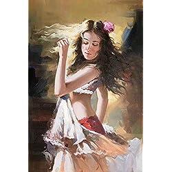 UBEN Pintado a Mano de Pintura al oleo (niña), Corredor Pintura Salon Pintura Restaurante 100% Hecho a Mano de Pintura al óleo, de Orden Privado