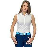 Eve Lina sin mangas Basic Mujer Golf Camiseta 100% Pima de algodón jersey, mujer, blanco