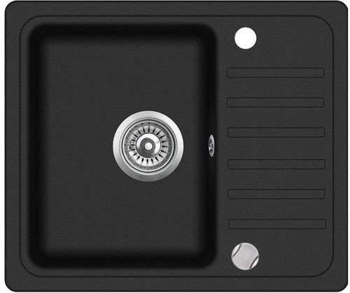 Spüle Spülbecken Granit 46x55,5 cm Einzelbecken Küche Einbauspüle Verbundspüle Küchenspüle schwarz gesprenkelt reversibel + Drexexcenter + Siphon Waschbecken