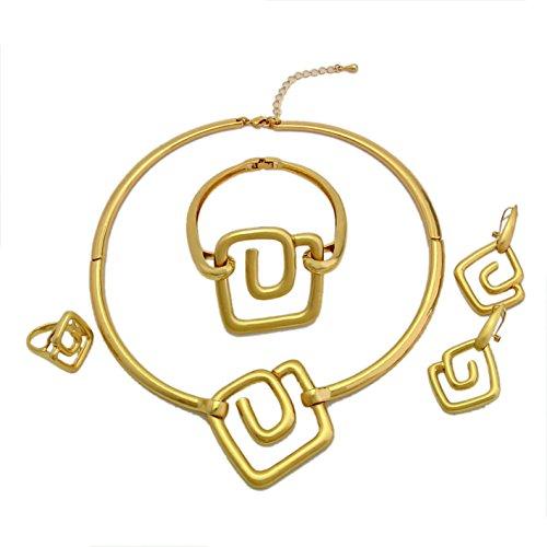 Yulaili African Kostüm Halskette Fashion Jewelry Sets für Party Charms Armband Frauen 24K Dubai vergoldet ()