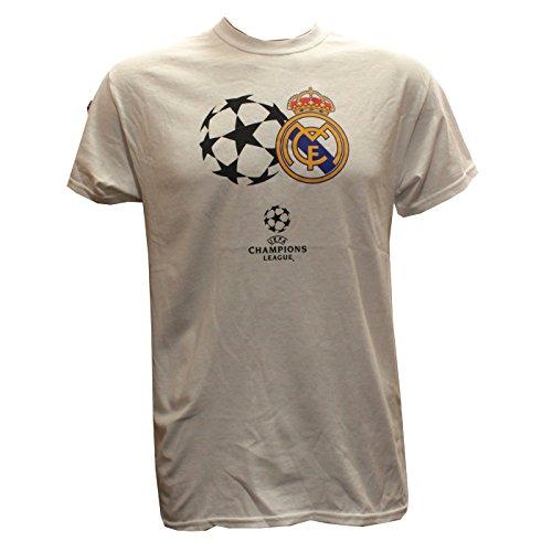 Real Madrid - UEFA Champions League T-Shirt bedruckt weiß, Größe L (Champion T-shirt Weißen)