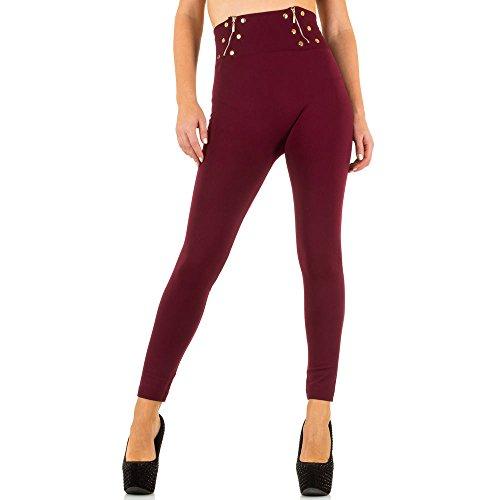 Damen Leggings Warm Gefütterte High Waist Zipper Weinrot ONE SIZE (Rise Low Bootleg Jeans)