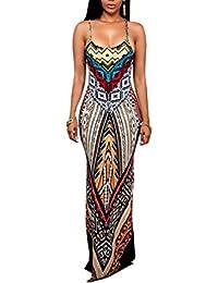 Swallowuk Damen Mode Ärmellos Druck Maxikleid Sommerkleid Strandkleider  Boho Casual Lang Kleid (S, ... 71578c5350