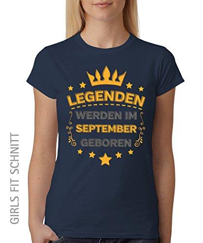 -- Legenden werden im September geboren -- Girls T-Shirt auch im Unisex Schnitt Navy