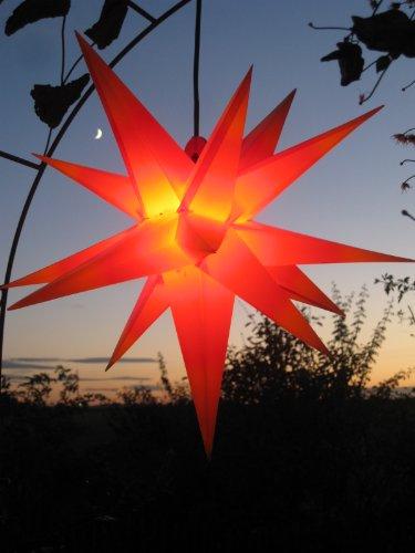 Außenstern Stern rot mit gelben Spitzen, wetterfest, ca. 55 cm Faltstern, hochwertige Verarbeitung (Spitze-gelbe Rote Spitze)
