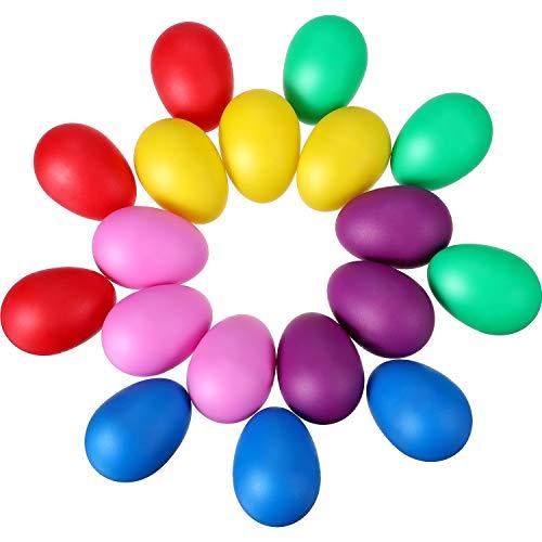 18 Stücke Maracas Eier Kunststoff Egg Shakers Set Maracas Eier Shaker für Kids Party Favors Musical Spielzeug, 6 Farben