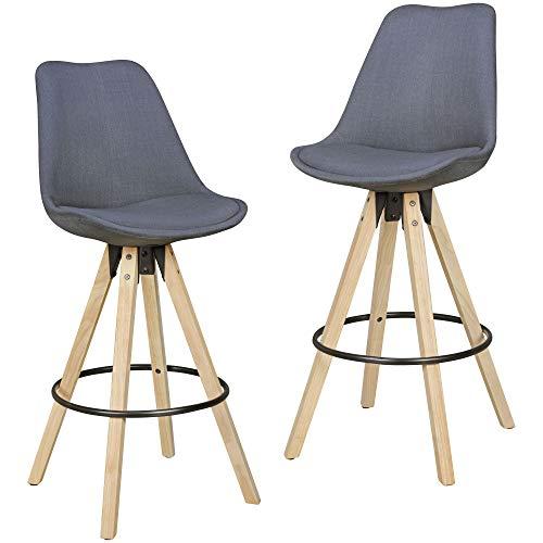 Wohnling Barhocker Retro Design Stoff Holz mit Rücken-Lehne, hell-grau, 2er Set, 72 cm
