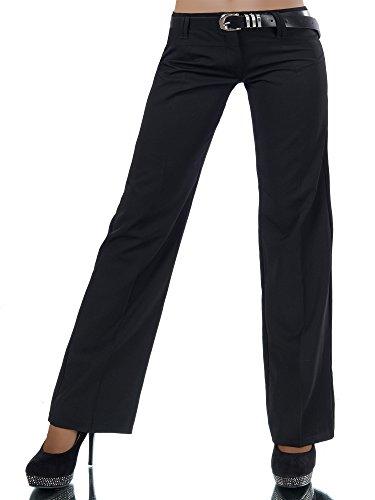 L293 Damen Business Stoffhose Elegante Bootcut Hose Classic Schlaghose + Gürtel, Farben:Schwarz;Größen:44 XXL (Etikett T6)