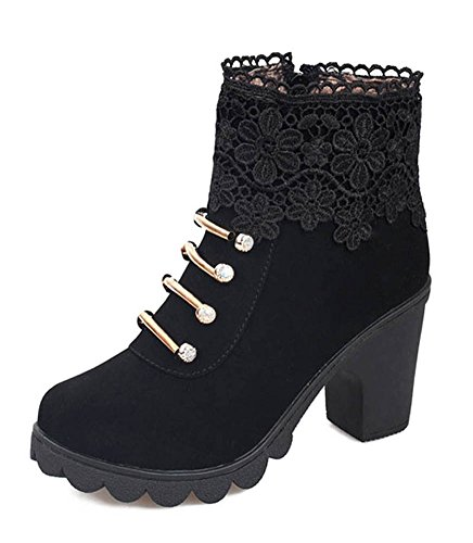 Minetom autunno inverno donna moda stivali corti diamante cavo pizzo martin boots stivaletto tacco alto nero eu 38