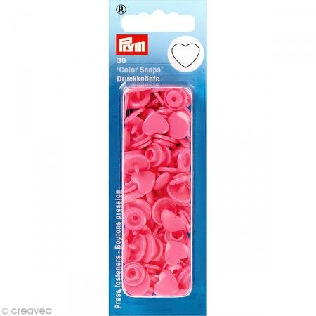 30 Color Snaps 12,4 mm pink in Herzform