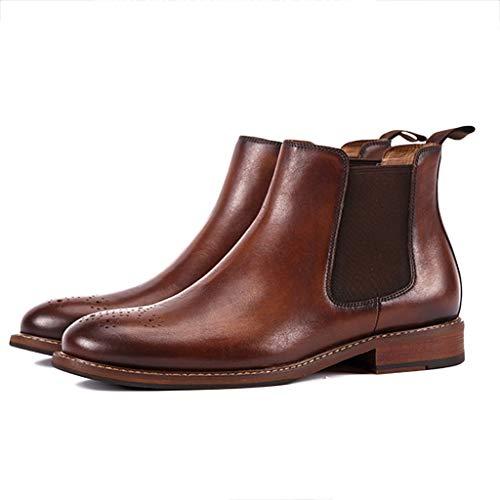 Leder Ankle Boot Spitze (nihiug Herren Chelsea Stiefel lässig Spitzen Wüstenstiefel wasserdicht Unisex Ankle Boots Leder Freizeitstiefel Martin Stiefel Lederstiefel,Brown-38)