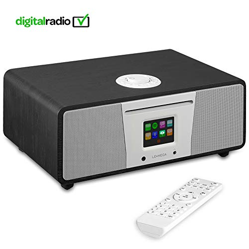 e Smart Music System (2.1 Stereo) with CD, Wi-Fi, Internet Radio, Spotify, Bluetooth, DLNA, DAB, DAB+, FM Radio, Clock, Alarms, Presets, and Wireless App Control - Schwarze Eiche ()