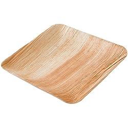 Kaufdichgruen DTW05359 Plato de hoja de palma, 25 uds, cuadrado, 20x20 cm, biodegradable