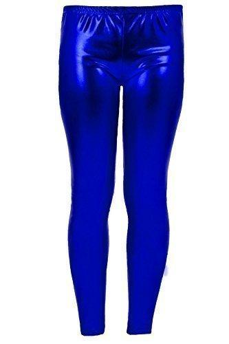 (Saphir Kinder glänzend metallisch Kinder Party Mädchen Wet-Look Leggings Disco Hose - Blau, Years UK 9-10)