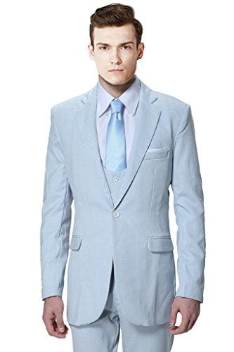 MYS tuta da uomo personalizzata, Rotondo, Gilet Pantaloni Set Luce Blu Light Grey Su Misura