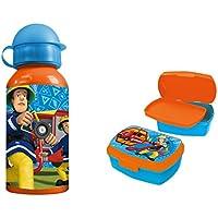 Preisvergleich für Feuerwehrmann Sam Pausenset Premium Brotdose Lunchbox mit Trenner und Premium Alu Trinkflasche
