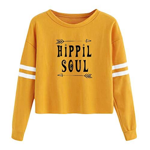 B-commerce Damen Lässige Rundhals Brief Muster Langarm Kapuzenpullover Streifen Plus Samt Sweatshirt Front Hooded Down Parka