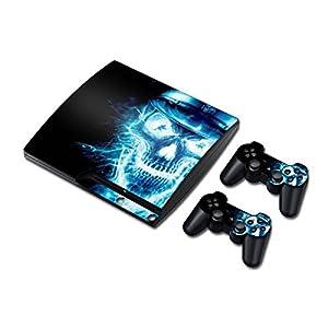 Sony PS3 Playstation 3 Slim Skin Design Foils Aufkleber Schutzfolie Set – Blue Skull Motiv