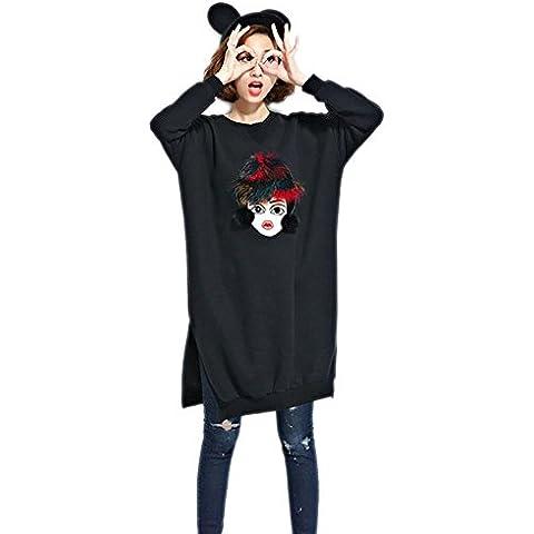 WDYI Nuevo invierno más gruesa camisa de vestir suéter parche de terciopelo y largas secciones Wei , black , one size