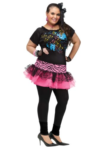 Womens Plus Size 80's Pop Party Fancy Dress Costume