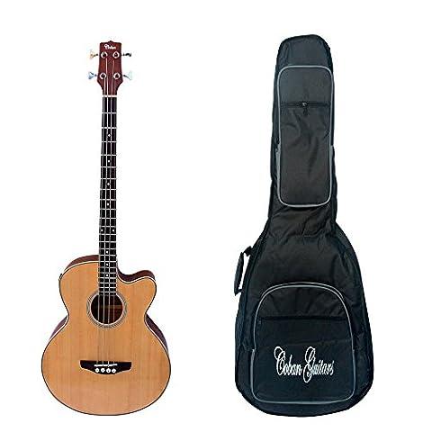 Coban Electro Luxe Naturel brillant Basse acoustique guitare électro-acoustique Inc, médiators, câble et sangle