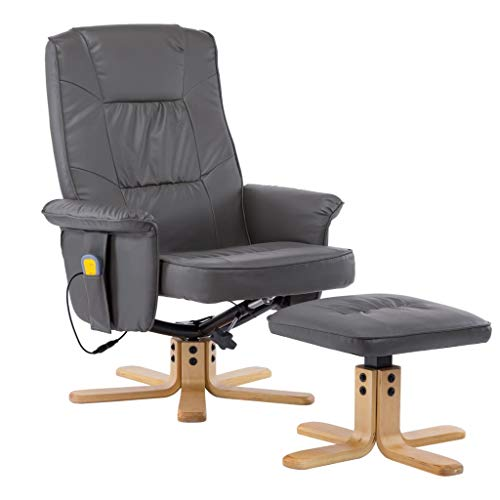 vidaXL Massagesessel mit Fußhocker Hocker Wärmefunktion Massage Relaxsessel Fernsehsessel TV Sessel Polstersessel Ruhesessel Grau Kunstleder