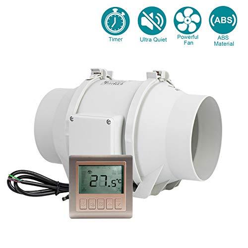 """HG POWER 6"""" ventilateur d'extracteur en ligne avec Minuteur Contrôleur Extracteur de Conduit silencieux pour la cuisine, les tentes de culture, l'atelier, hydroponique (ø150mm)"""