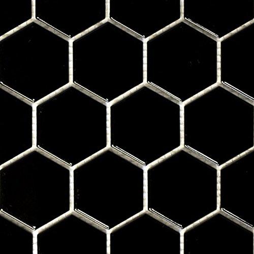 Mosaik Fliese Keramik Hexagon schwarz glänzend für BODEN WAND BAD WC DUSCHE KÜCHE FLIESENSPIEGEL THEKENVERKLEIDUNG BADEWANNENVERKLEIDUNG Mosaikmatte Mosaikplatte