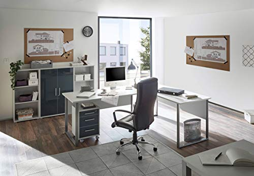 Komplettes Arbeitszimmer Büro Möbel Set Komplettset OFFICE LUX in lichtgrau Glas graphit Lack 5-teilig -
