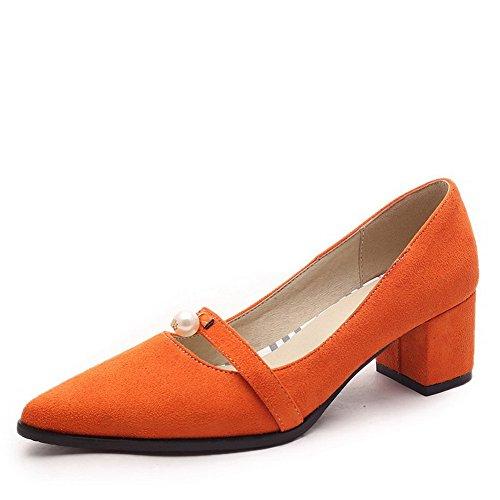 VogueZone009 Damen Ziehen Auf Mittler Absatz Nubukleder Rein Spitz Zehe Pumps Schuhe Orange