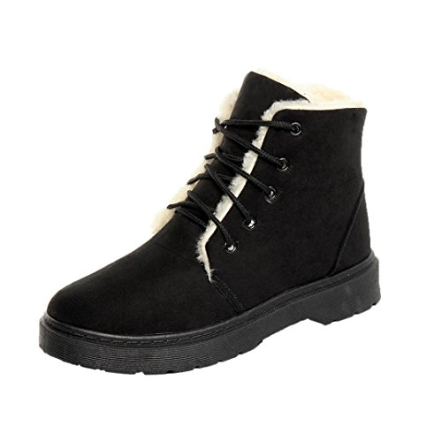 Zapatos por ESAILQ Señoras de Invierno Cálido Más Forrado Plano con Cordones Nieve Tobillo Botas